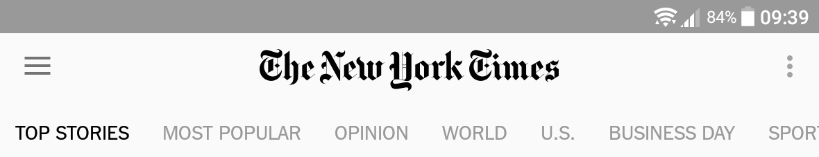 Screen shot: New York Times mobile app: No indication of encryption