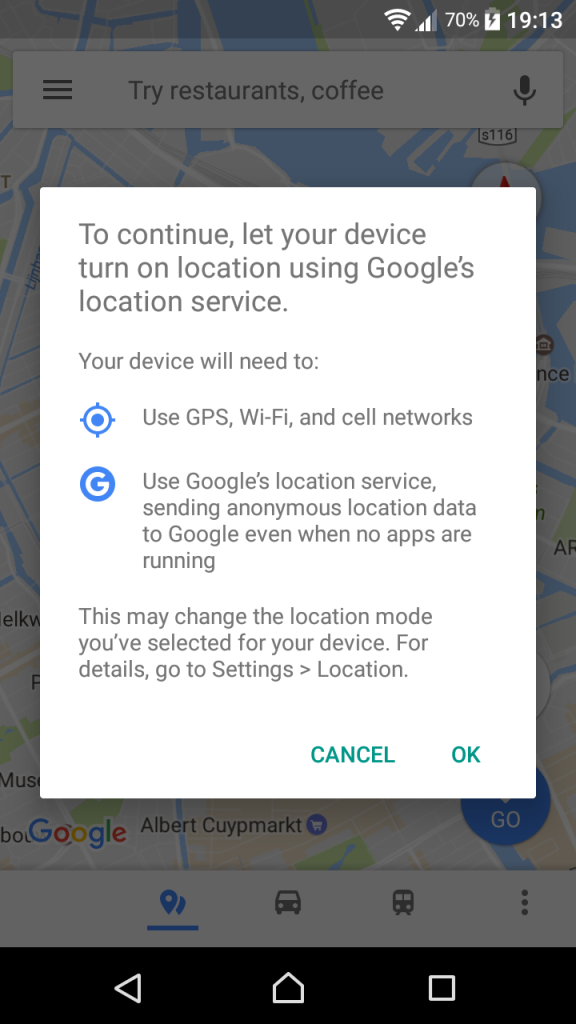 Location permission request when using Google Maps on Android -  with OK leading to Google also collecting location information when running in background