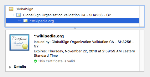 The HTTPS certificate for Wikipedia