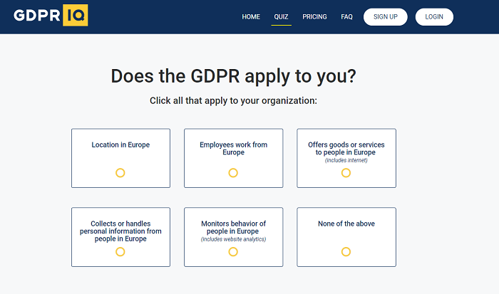 GDPR IQ first asks users whether the tool would be appropriate for their business.