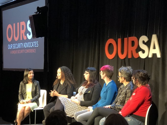 (Left to right: Facebook's Aanchal Gupta; Fastly's Window Snyder; Facebook's Kate McKinley; the ACLU's Leigh Honeywell; Cloudflare's Jennifer Taylor; and Spotify's Kelly Lum