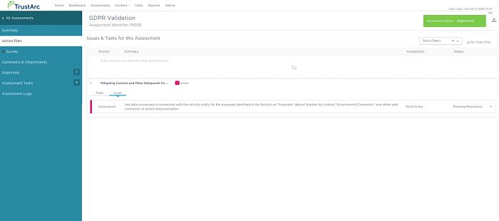 GDPR Validation's desktop dashboard