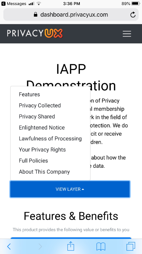 The view of a PrivacyUX-generated notice on an iPhone.