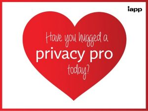 "Red Heart says ""Have you hugged a privacy pro today?"""